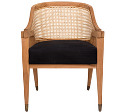Chloe Chair,Teak,Caning,and Black Cotton