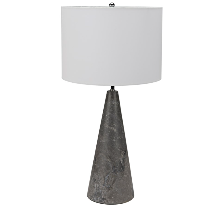 Cone Lamp w/Shade,Black Marble