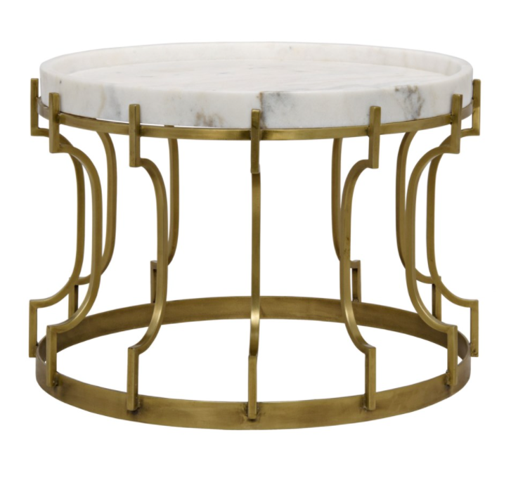 Corium Side Table,Antique Brass,Metal and Quartz