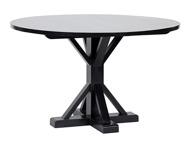 "Criss-Cross Round Table,48"",Hand Rubbed Black"
