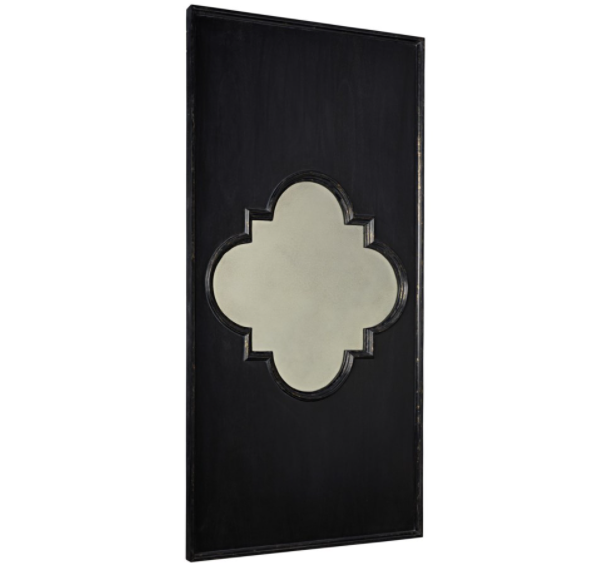 Good Luck Mirror,Hand Rubbed Black w/ Gold Trim
