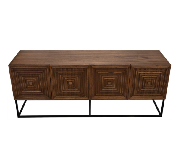 Lanon Sideboard with Metal Base,Dark Walnut