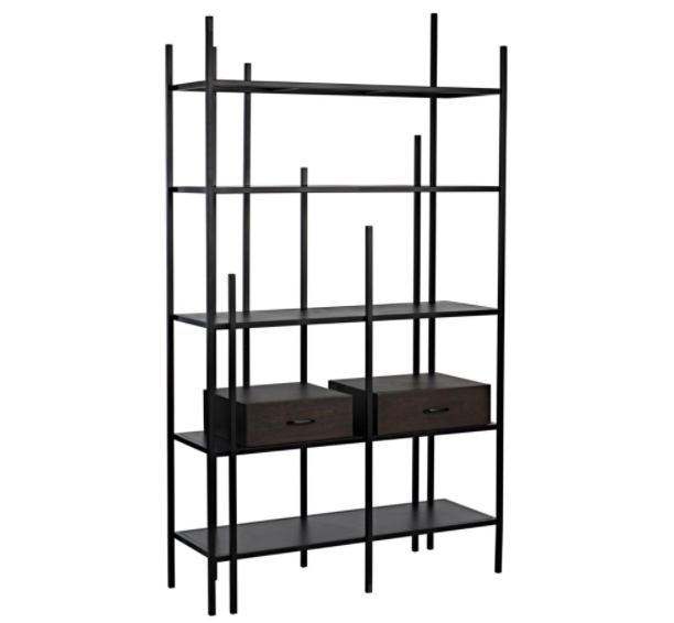 Lenox Bookcase,Black Metal w/Ebony Walnut