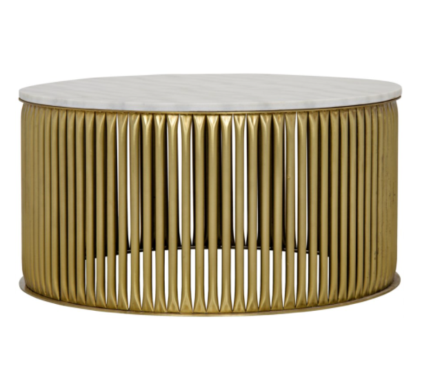 Lenox Coffee Table,Antique Brass,Metal and Stone