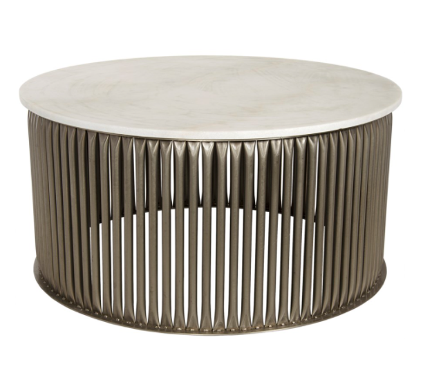 Lenox Coffee Table,Antique Silver,Metal and Stone