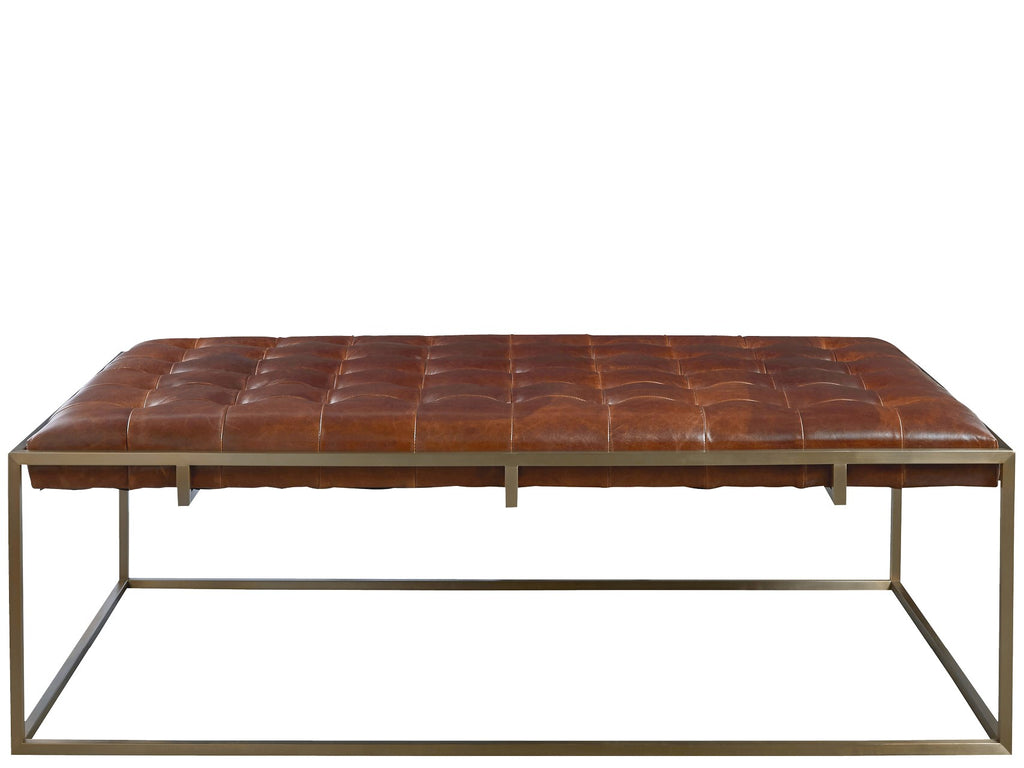 Travers Cocktail Ottoman - Brown Leather