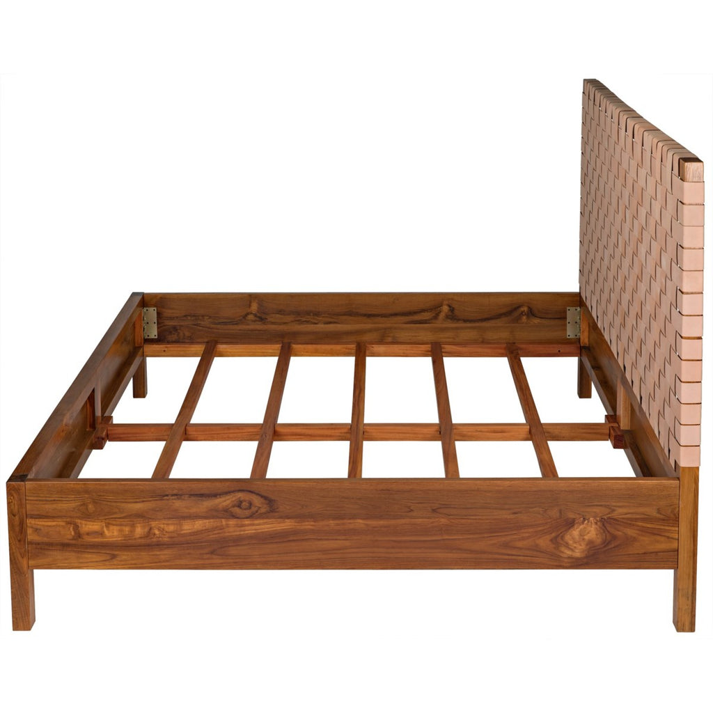 Mansard Bed, Eastern King, Teak with Woven Leather Headboard