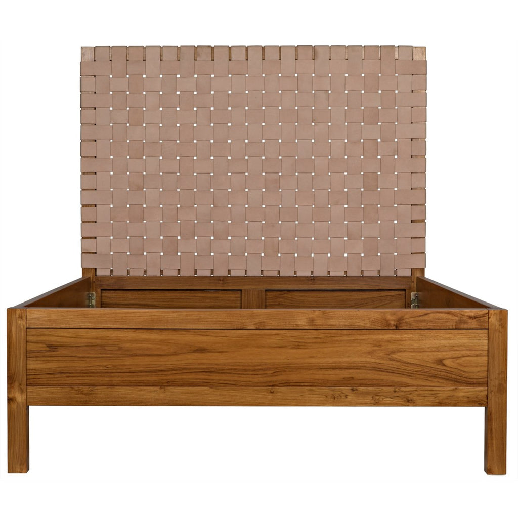 Mansard Bed, Queen, Teak with Woven Leather Headboard
