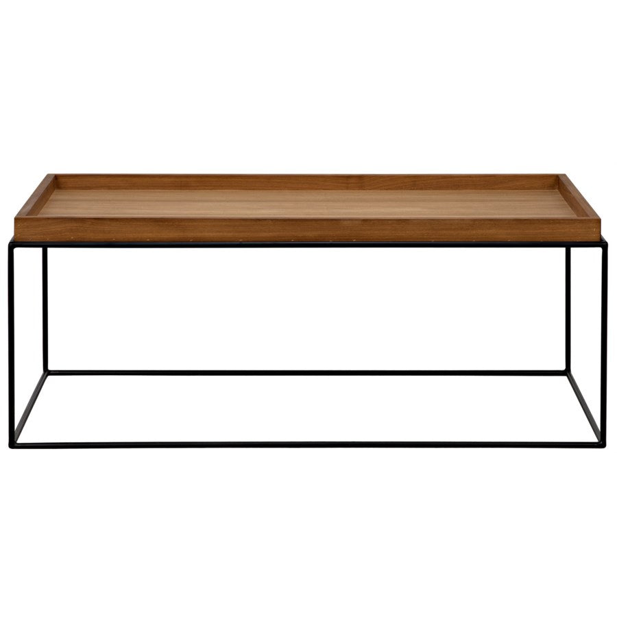 SL01 Coffee Table,Metal Base with Gold Teak Top