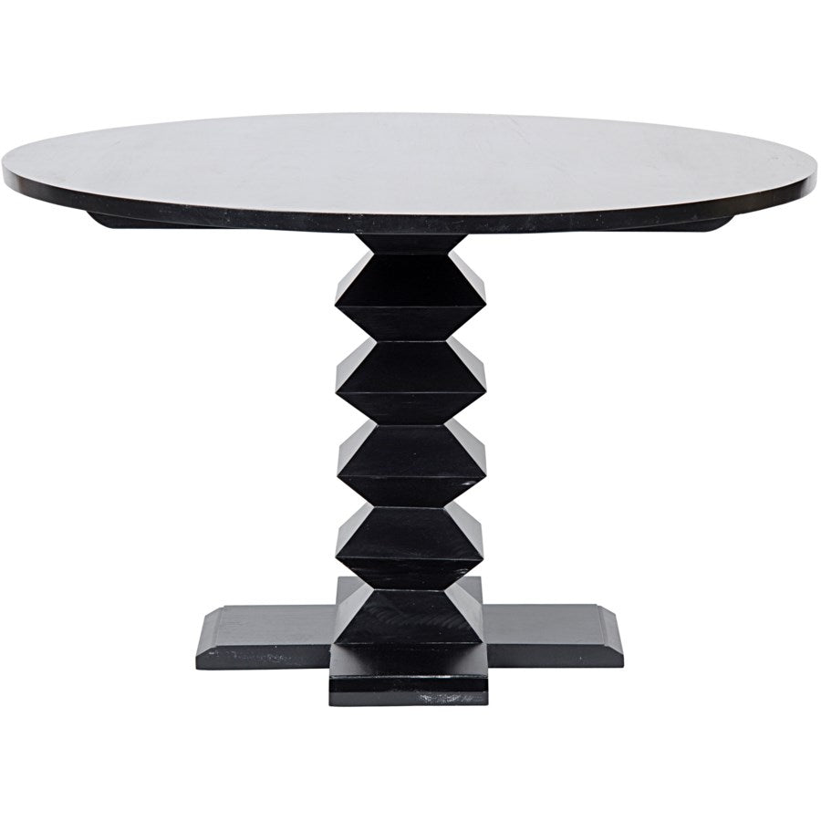 "Zig-Zag Base Dining Table,48"",Hand Rubbed Black"