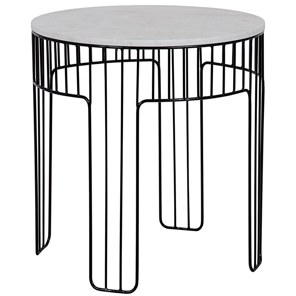 Amadeus Side Table, Small, Metal with White Stone