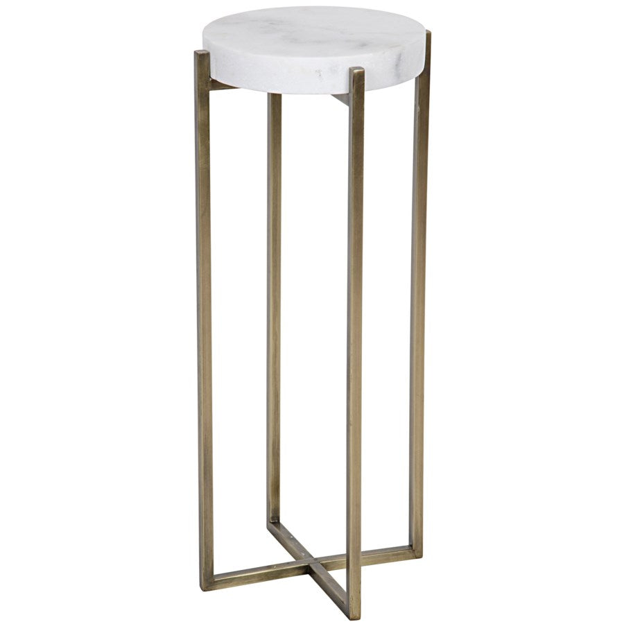 Soho Side Table,Antique Brass,Metal and Quartz