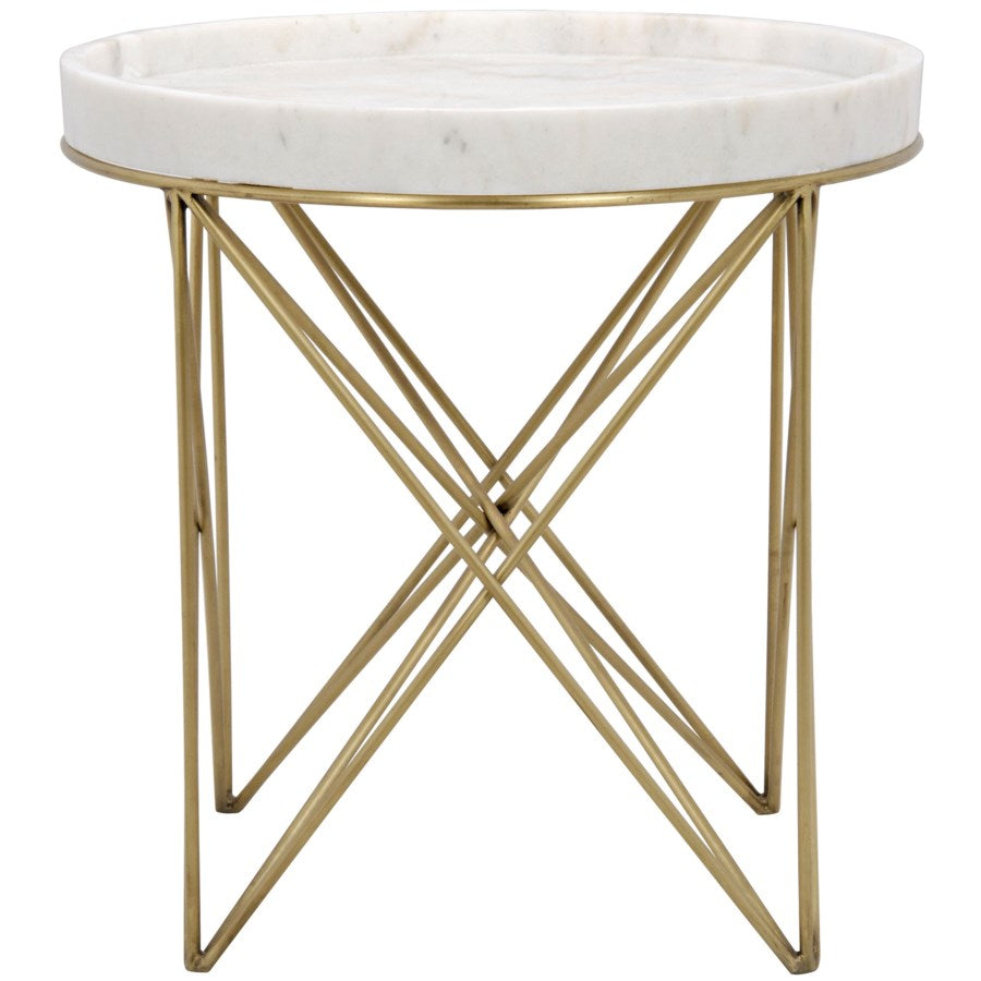 Prisma Side Table,Metal and Quartz