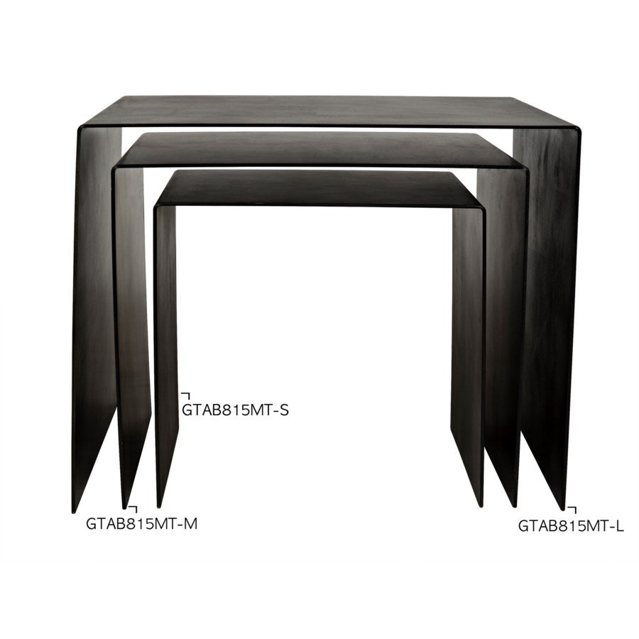 Yves Side Table,Black Metal,Medium