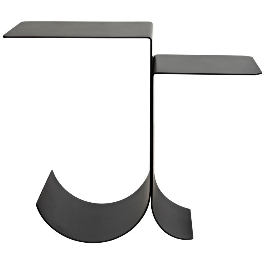 Rolling Side Table,Black Metal