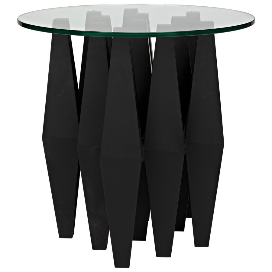 Soldier Side Table,Black Metal w/Glass Top