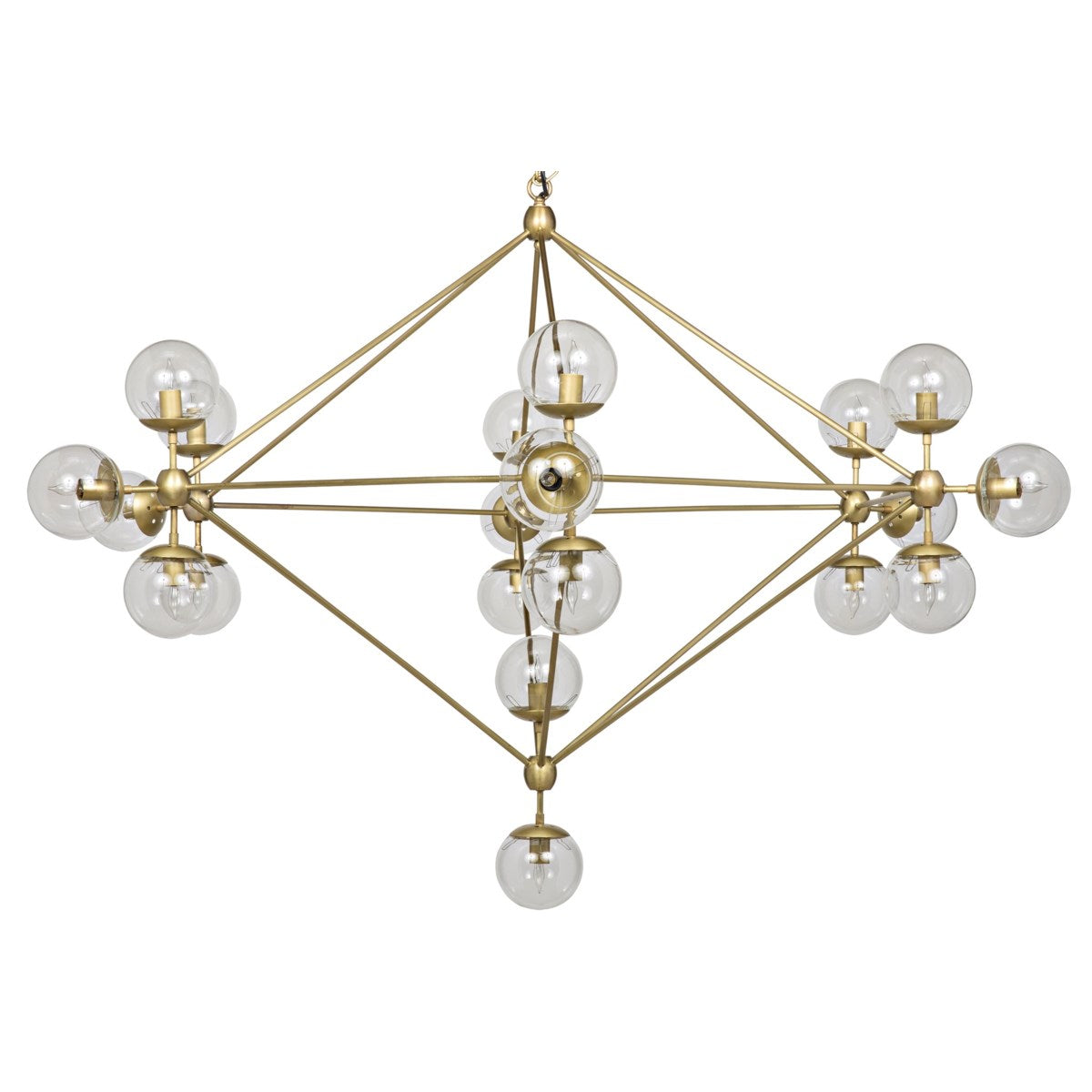 Pluto Chandelier, Large, Antique Brass