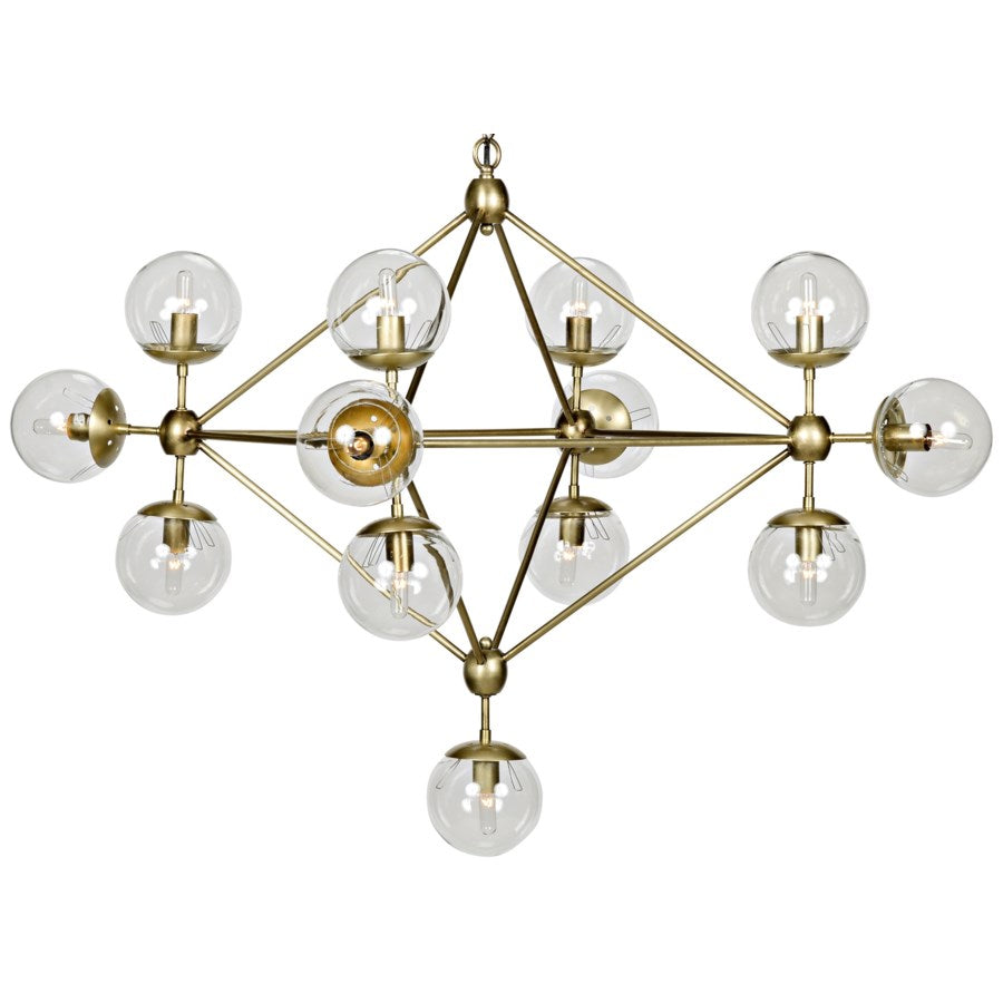 Pluto Chandelier,Small,Antique Brass,Metal and Glass