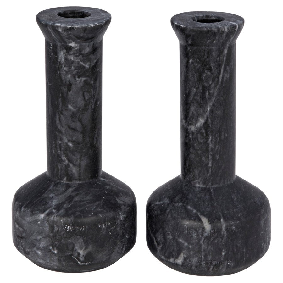 Milos Decorative Candle Holder,Set of 2,Black Marble