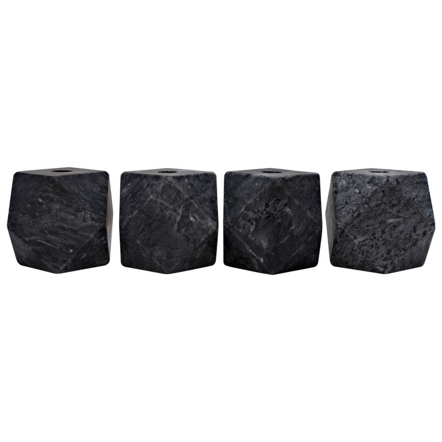 Polyhedron Decorative Candle Holder,Set of 4,Black Marble