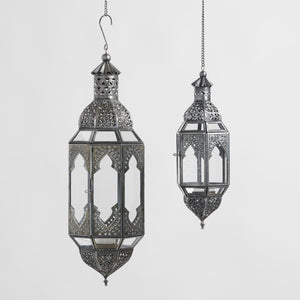Antiqued Zinc Hanging Lantern medium