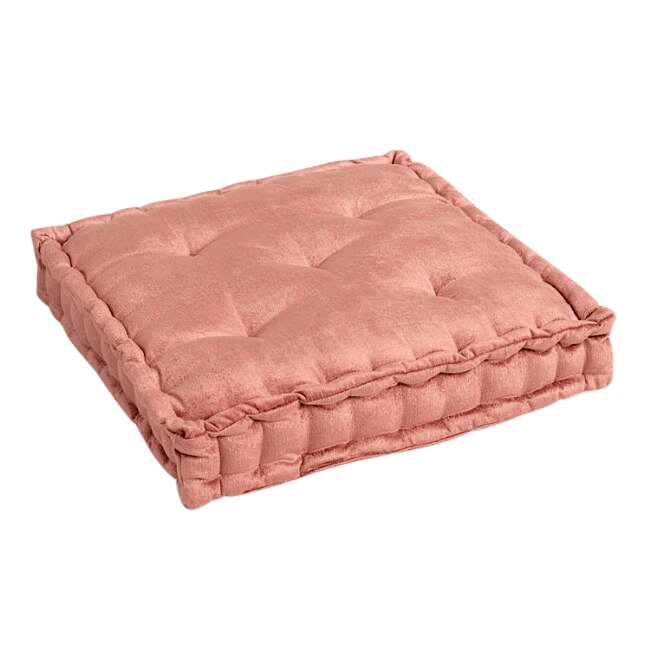 Coral Velvet Tufted Floor Cushion