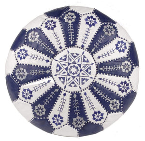 Moroccan Pouf Rental - Royal Blue White Starburst
