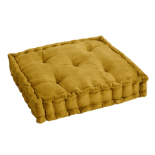 Load image into Gallery viewer, Mustard Velvet Tufted Floor Cushion