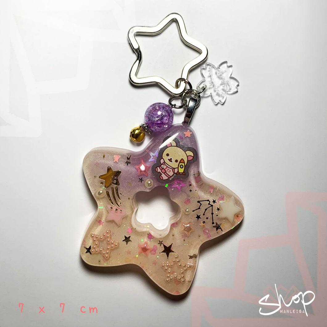 Pink/Purple Space Kuma Star Keychain