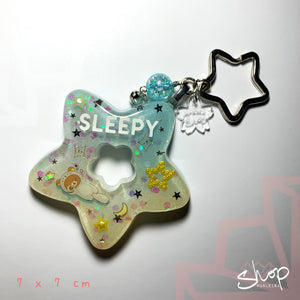 SLEEPY Space Kuma Star Keychain