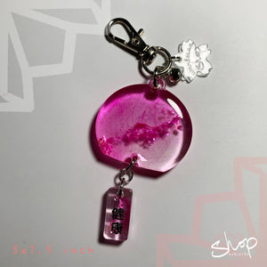 "Hot Pink Shell ""Good Health"" Mini Furin [2]"