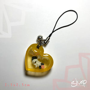 "Orange Glow In The Dark ""Heart"" Shaker Phone Strap"