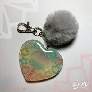Cotton Candy Heart Keychain
