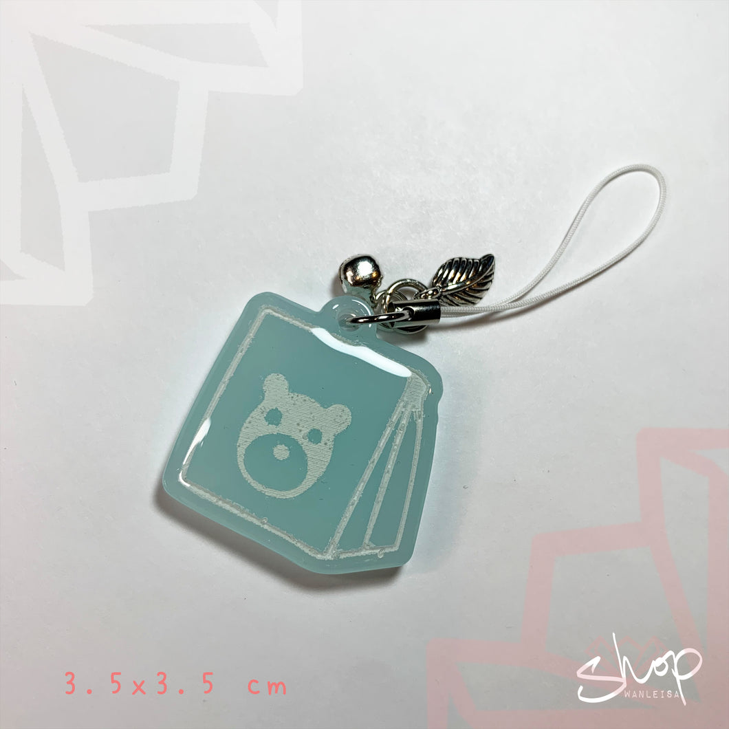 Blue AC Bear Bag Phone Charm