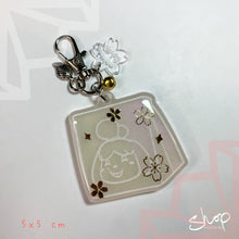Load image into Gallery viewer, White/ Gold Sakura Isabelle Charm
