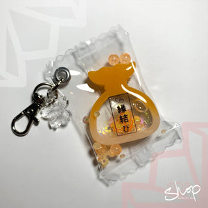 "Orange ""Love"" Liquid Furoshiki Shaker Candies Keychain"