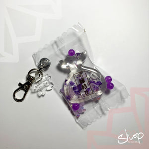 "Purple ""Love"" Liquid Furoshiki Shaker Candies Keychain"