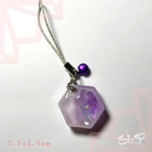 Purple Hexagon Shaker Phone Strap