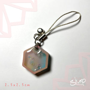 Rainbow Hexagon Shaker Phone Strap