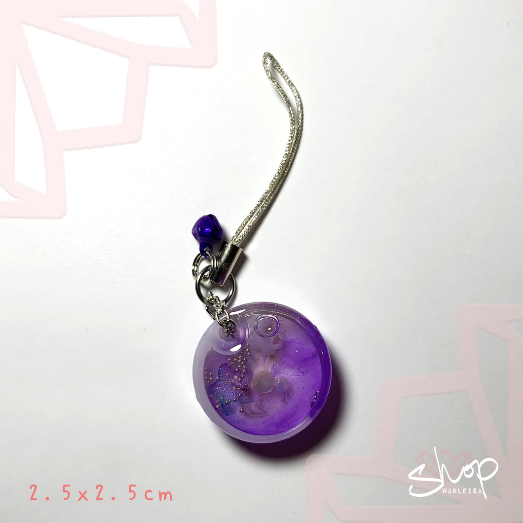 Purple Round Shaker Phone Strap