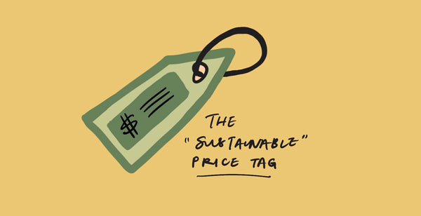 "An illustration of a price tag with the text ""The 'sustainable' price tag"""