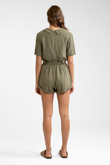 Catalina Short Sleeve Romper Khaki