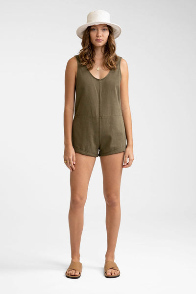 Low Rider Easy Fit Denim Jumpsuit Khaki