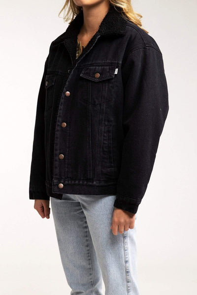Sherpa Lined Boyfriend Denim Jacket Black