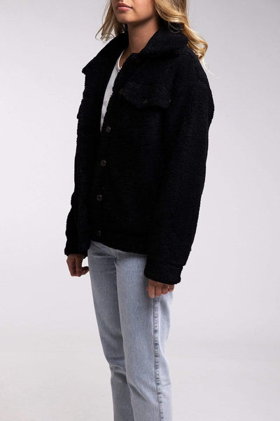 Harlow Oversized Teddy Jacket Black