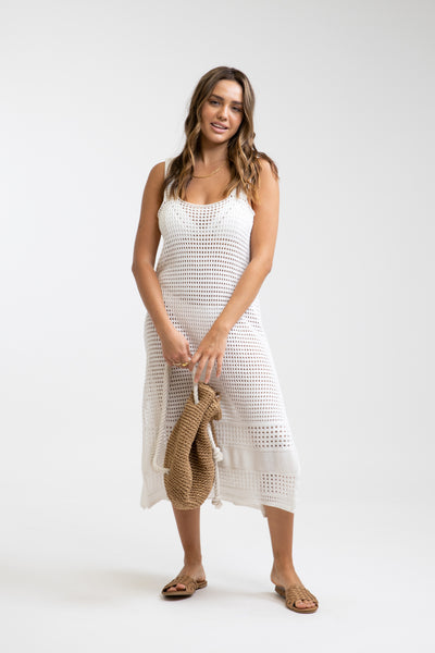 Slip Crochet Midi Dress White