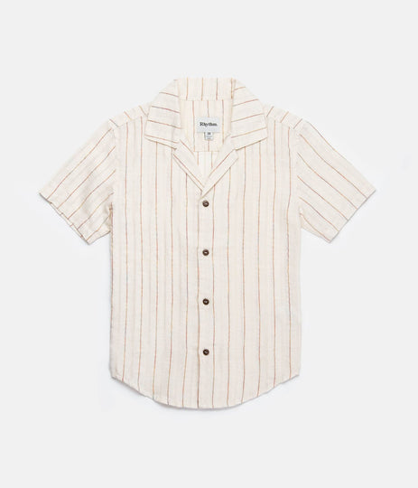 VACATION STRIPE BOYS SS SHIRT NATURAL WHITE