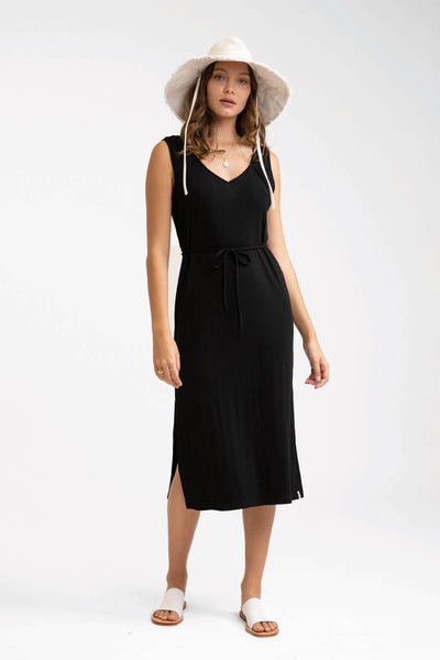 Ivory Rib Slip Dress Black