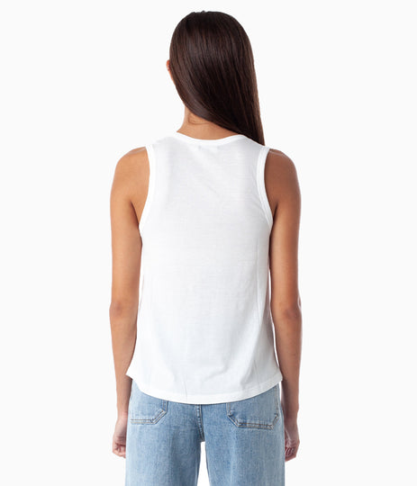 NATURAL GOOD VIBES TANK WHITE