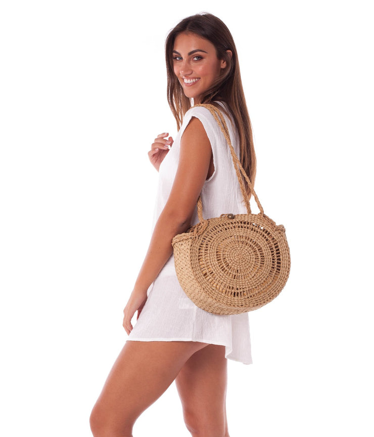 TIKI BEACH BAG STRAW